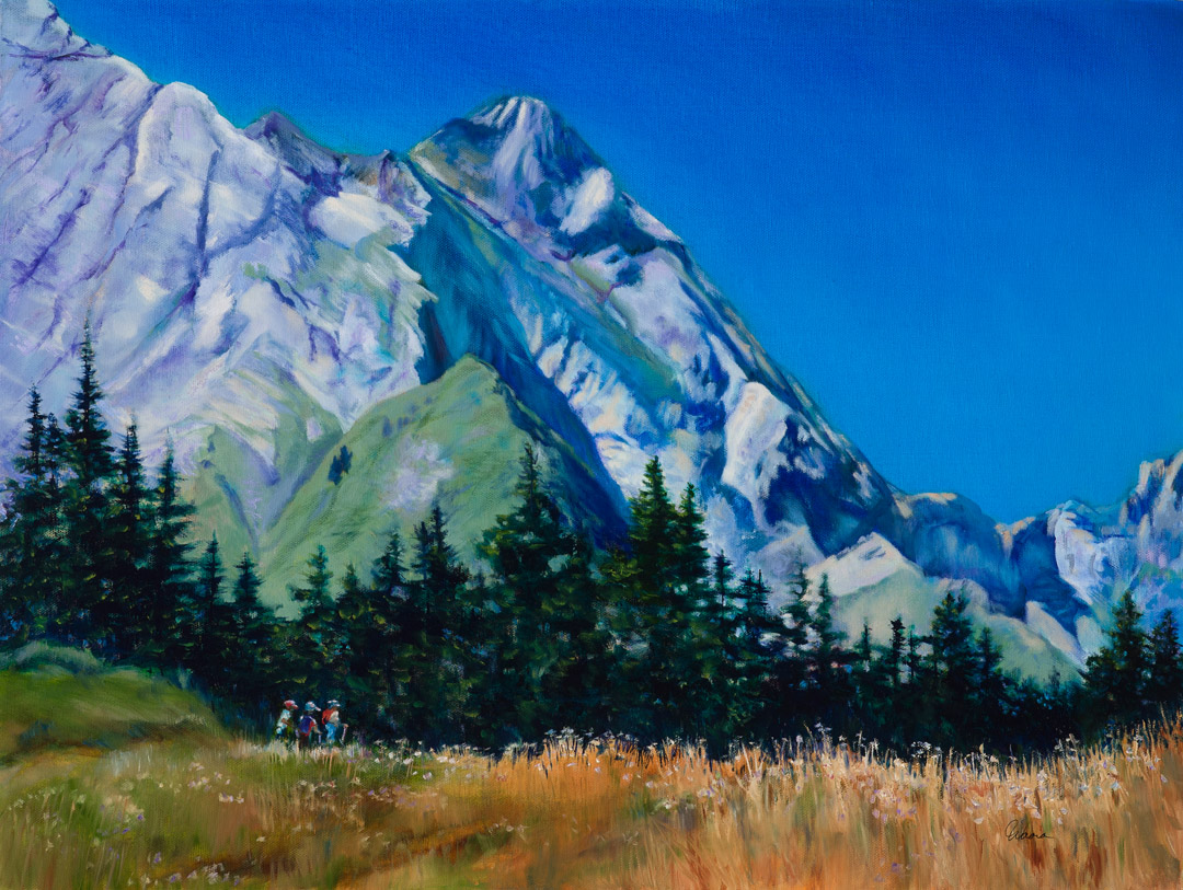 Hiking the French Alps - original oil painting