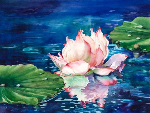 Sunbathing watercolor painting of water lily