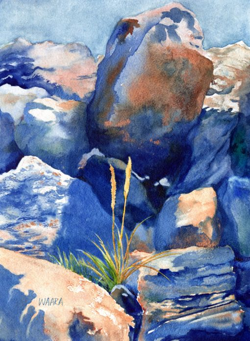 Grow Anywhere watercolor of rocks and lone grass blades