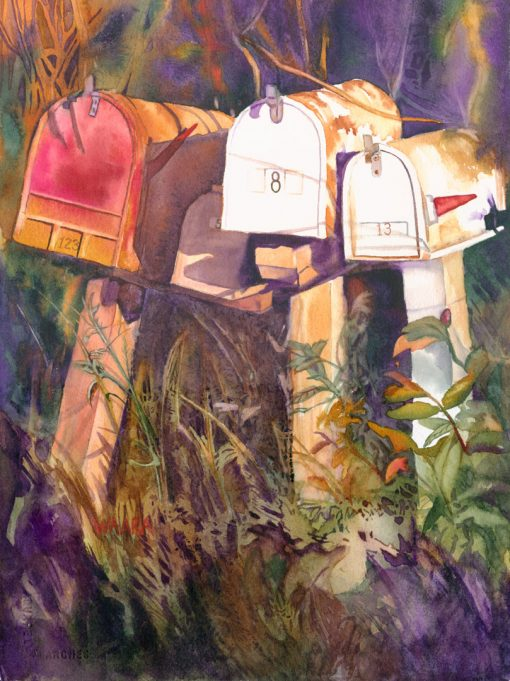 Waiting watercolor of secret mailboxes