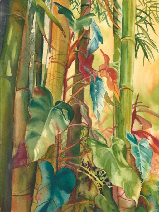 Bamboo Love Giclee Print of bamboo and heart leaves
