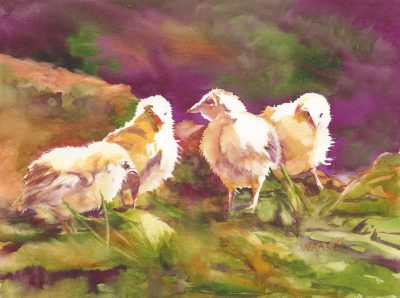 Chicks Sunbathing - original watercolor painting