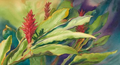 Evening Fire watercolor of red ginger