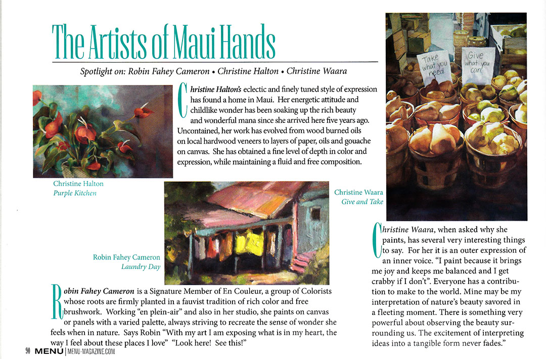 Christine Featured in Maui's Menu Magazine