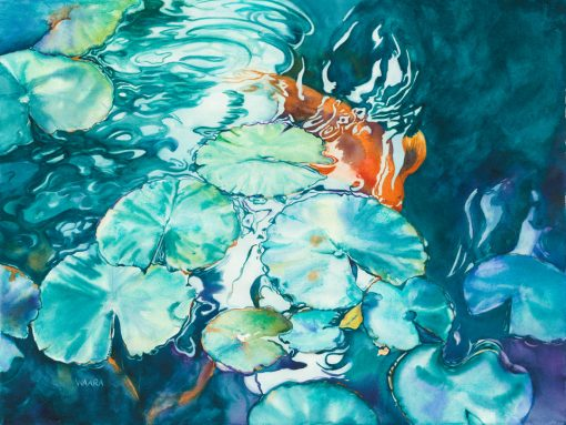 Coming Through Watercolor of Koi fixh under lily pads
