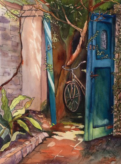 Be Right Back watercolor of bike in alley