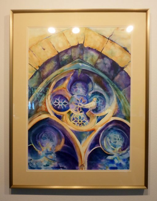 """Believe"" Watercolor Painting Framed dove in church stained glass window"