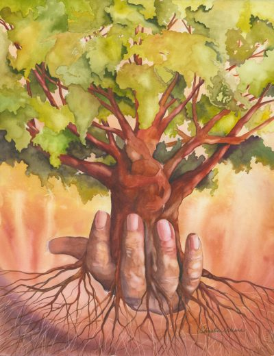 Growing Awareness Original Watercolor of a hand holding a tree