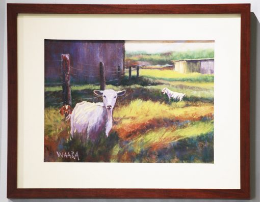 Framed pastel of goats in a filed