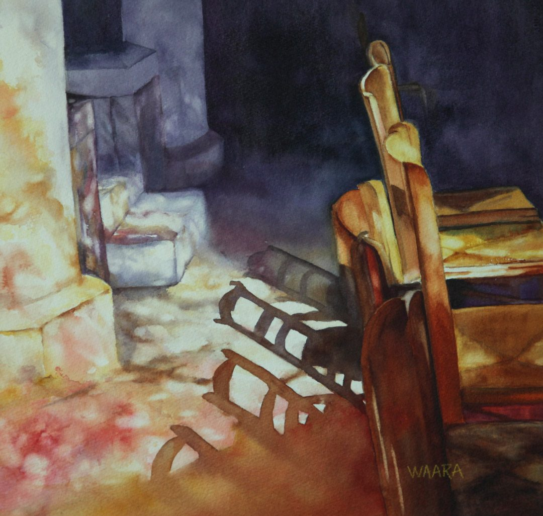 """Stained Glass Shadows"" watercolor painting"