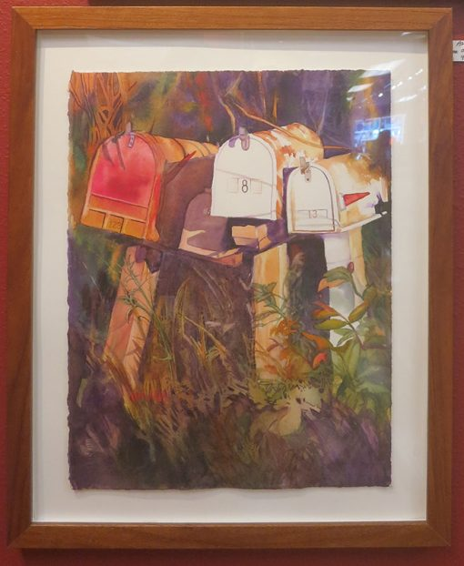 """Waiting"" Watercolor Painting of mailboxes Framed"