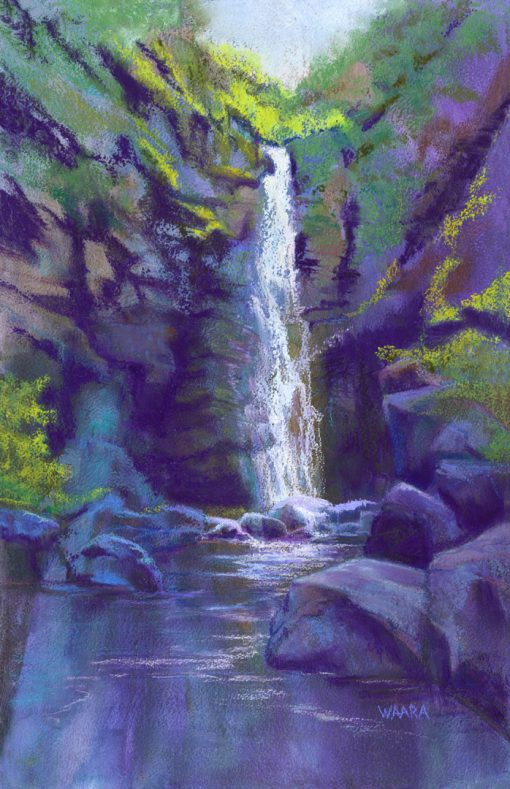 """Alelele Falls"" Pastel Painting"