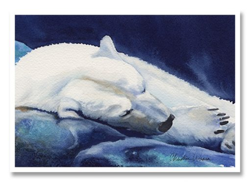 Heavy Slumber Greeting Card (Polar Bear)