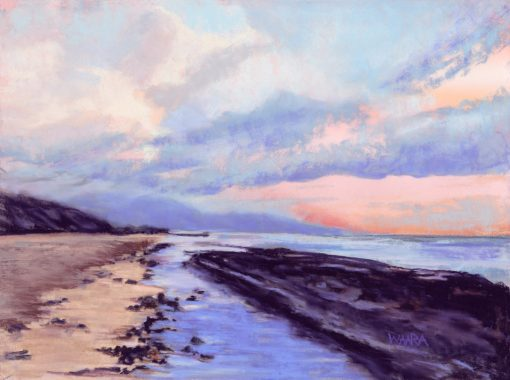 "Original pastel painting titled ""Low Tide"" of Baby Beach at low tide"