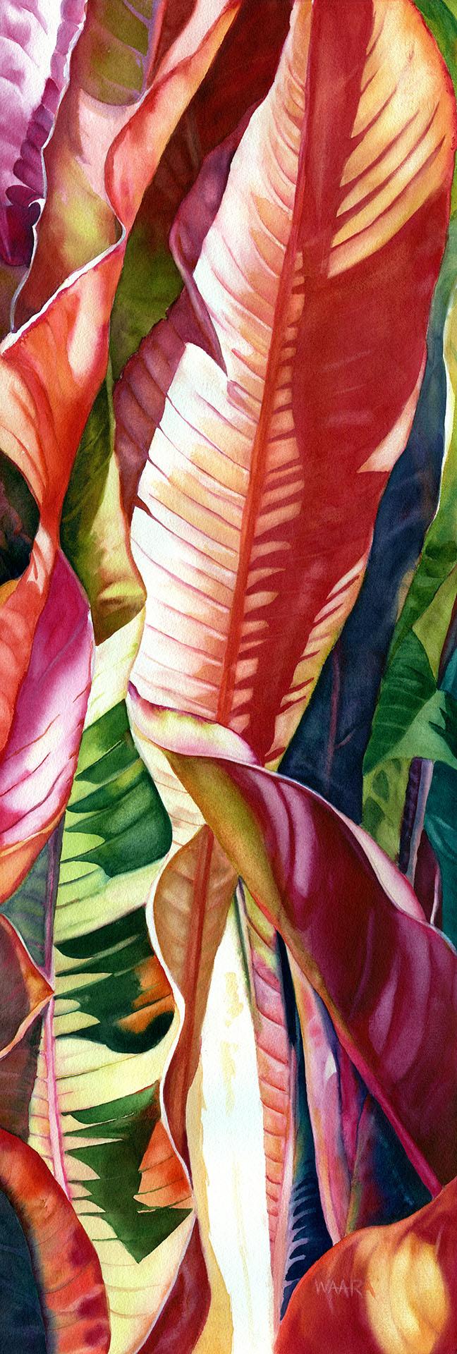 Haiku Banana Leaves watercolor painting