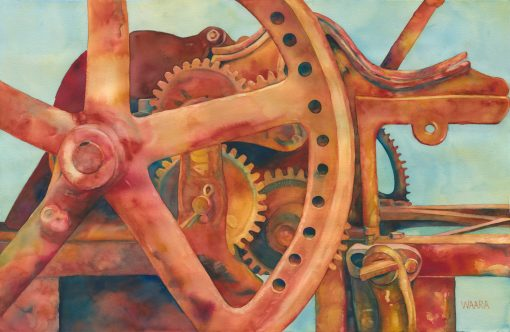 Change Gears fine art watercolor painting of sugar cane press