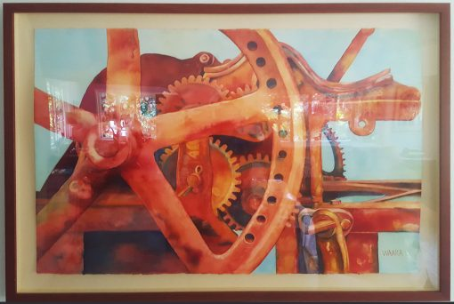 """Change Gears"" watercolor painting of rusty sugar cane press framed"