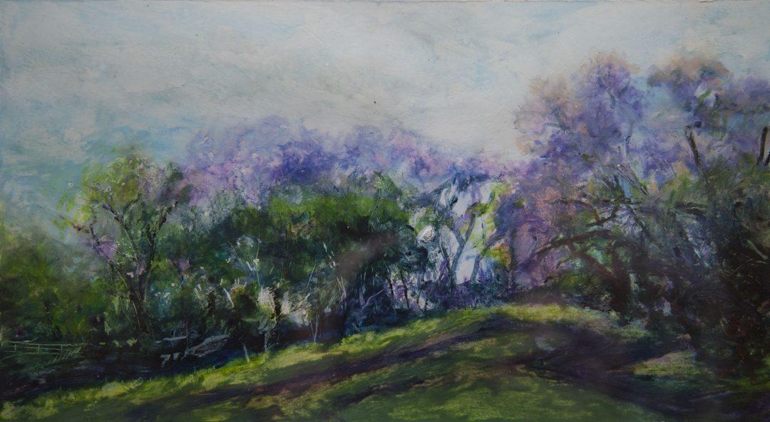 Upcountry Jacarandas original fine art oil pastel