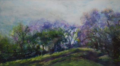 """Upcountry Jacarandas"" original fine art oil pastel"