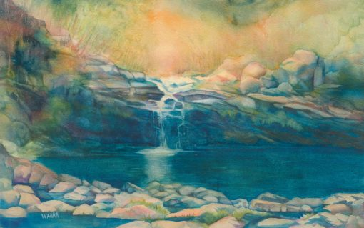 Original fine art watercolor painting of Haiku Waterfall