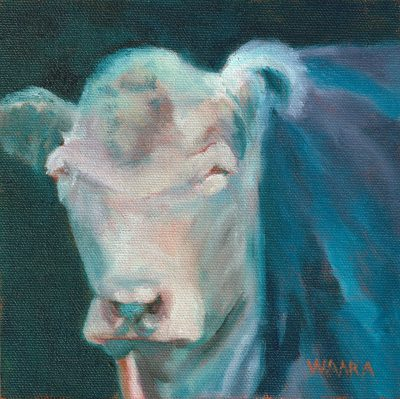Oil paining of a cowʻs face
