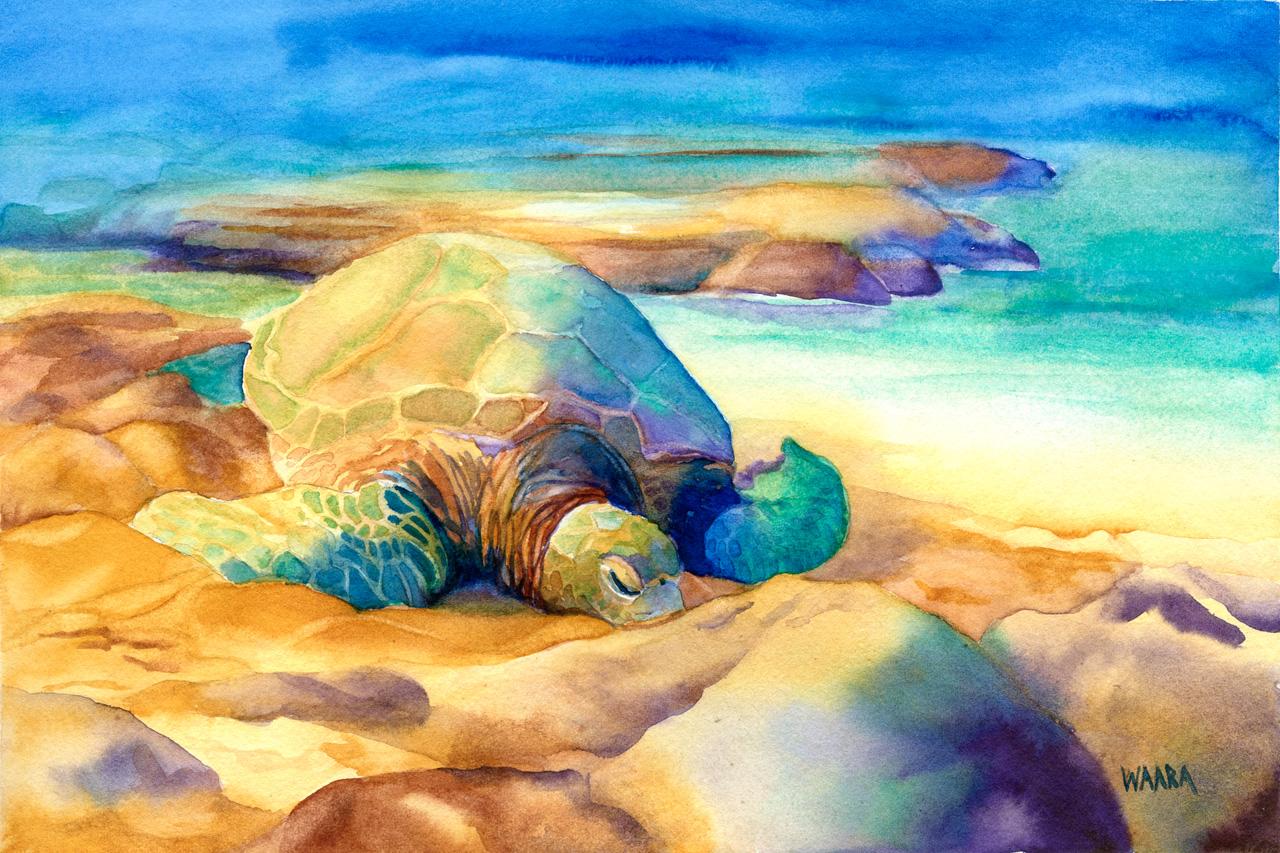 Watercolor painting of Hawaiian sea turtle on the beach at Ho'okipa