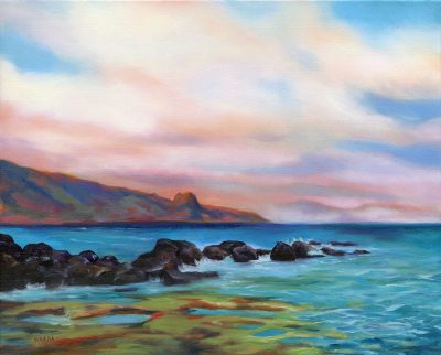 Original oil painting in front of Mama's Fish House in the North Shore of Maui by Maui artist Christine Waara