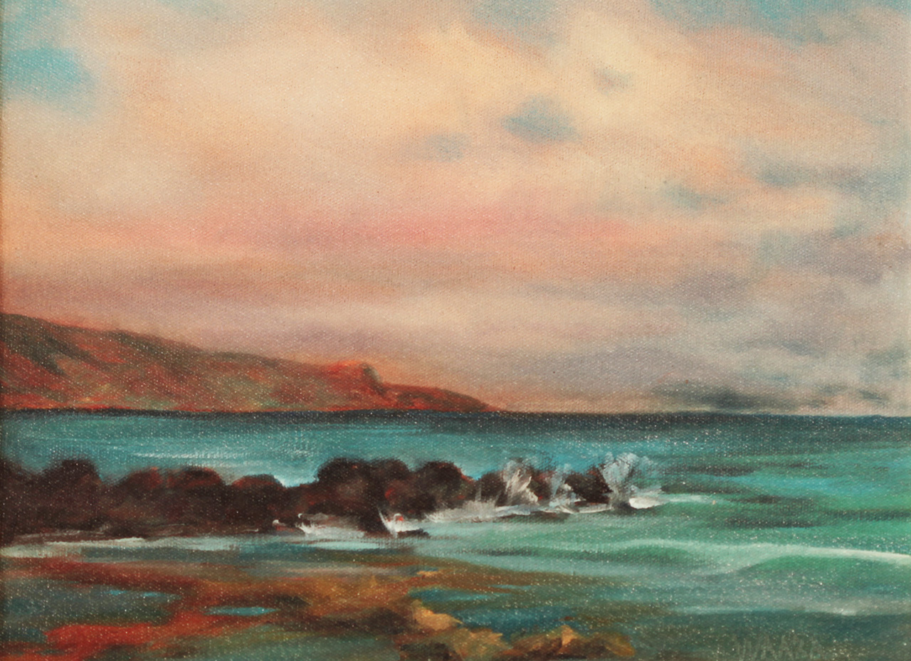 Oil painting of waves crashing on rocks in front of Mama's Fish House in Maui Hawaii