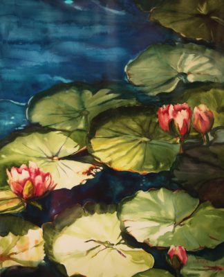 Watercolor painting of lily pads and lotus flowers