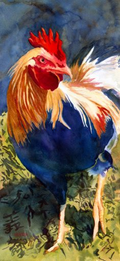 Watercolor painting of a colorful rooster with the Chinese symbol for peace