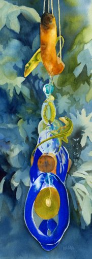 Fine art watercolor painting of geckos climbing on a blue glass mobile