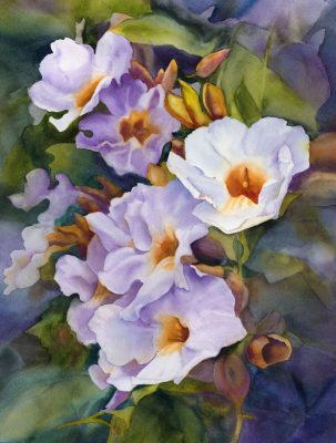 Fine art watercolor painting of morning glory flowers