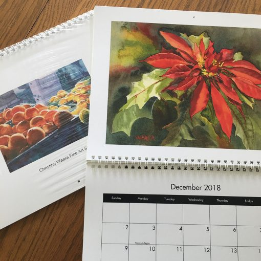 2018 Art Calendar with watercolor and pastel paintings by artist Christine Waara