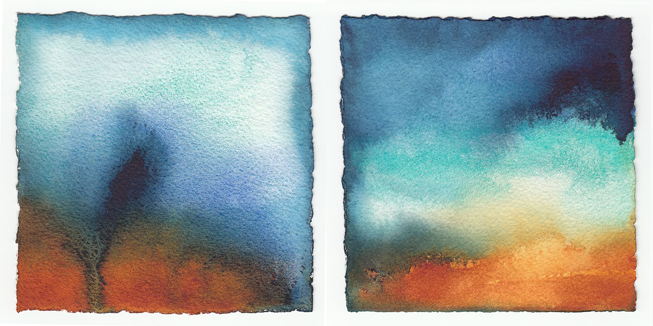 Abstract Diptych original watercolor by artist Christine Waara