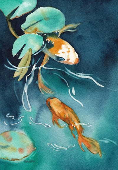 In the Flow original watercolor of koi fish swimming under a lily by artist Christine Waara