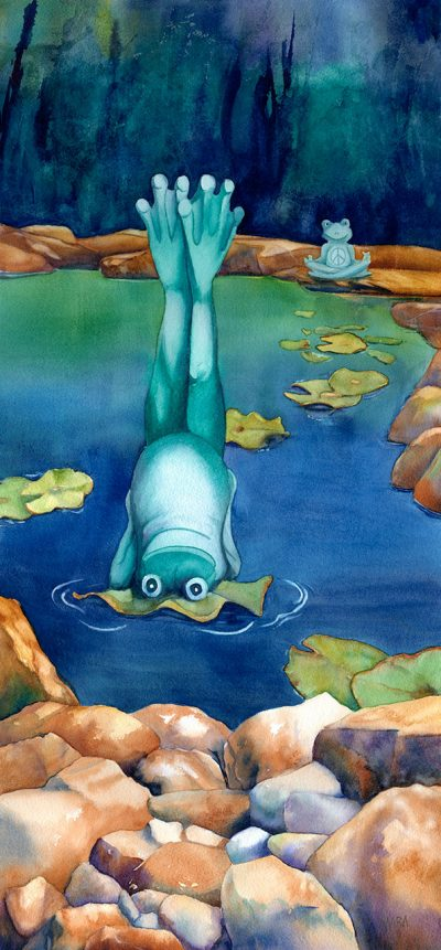 Love Across the Pond original watercolor painting of two frogs in a pond in yoga poses