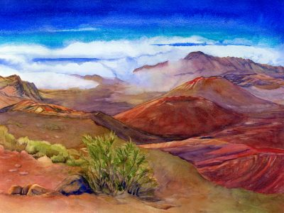 The Quietest Place on Earth 1280 original watercolor painting of Haleakala Crater by artist Christine Waara