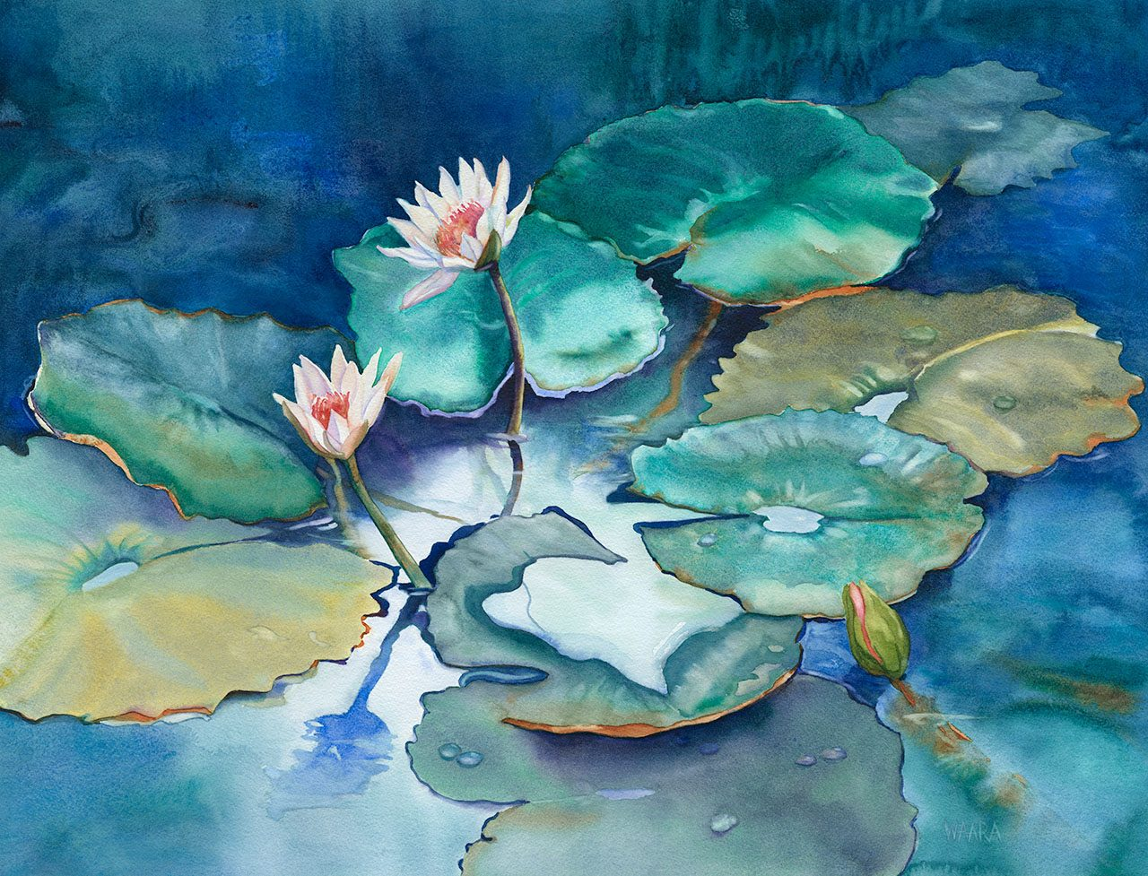 """There Was a Frog Here Somewhere"" original watercolor painting by Maui artist Christine Waara"