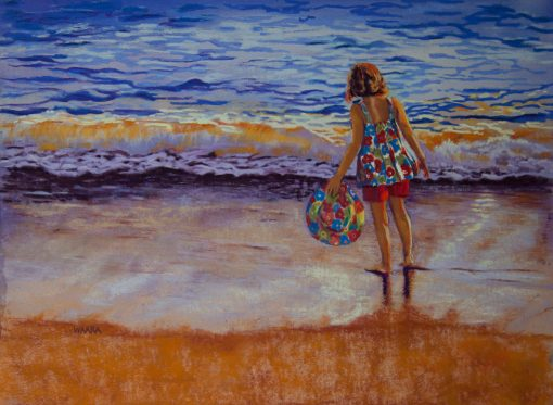 Watching the Waves Roll In original pastel painting by artist Christine Waara of girl on the beach in shorts holding a hat watching the waves