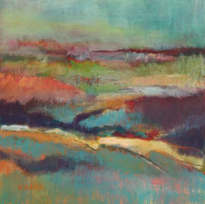 Abstract oil pastel painting of Morning at Kanaha by artist Christine Waara