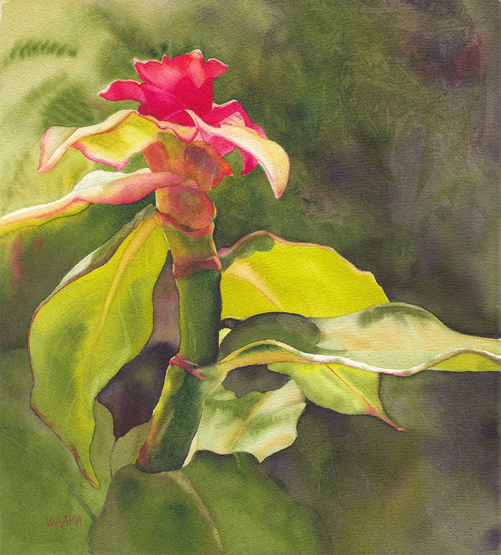 """Feel the Sun"" original watercolor painting by Maui artist Christine Waara"