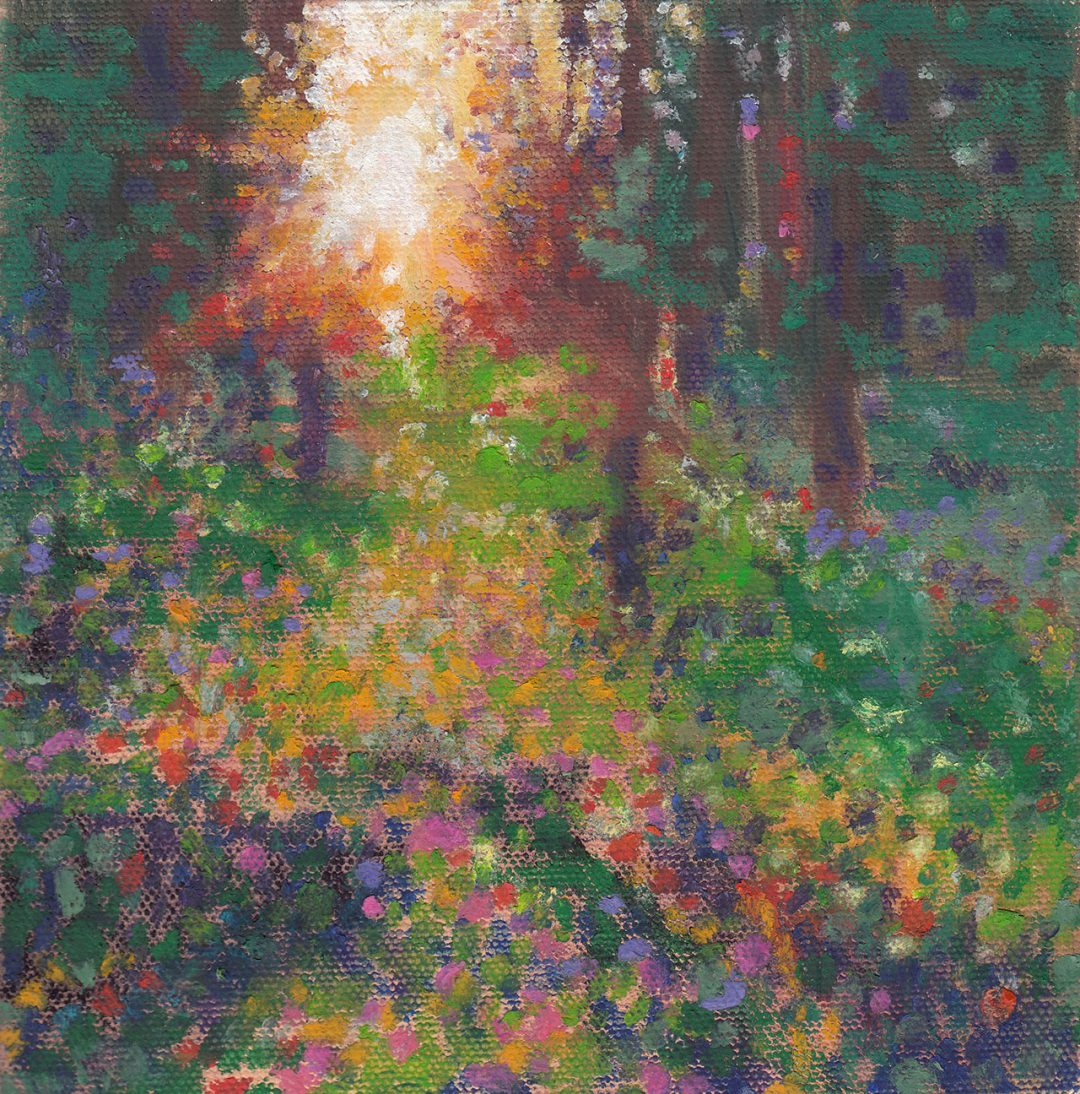 Original oil pastel of sun streaming through trees with flowers in the foreground by Maui artist Christine Waara