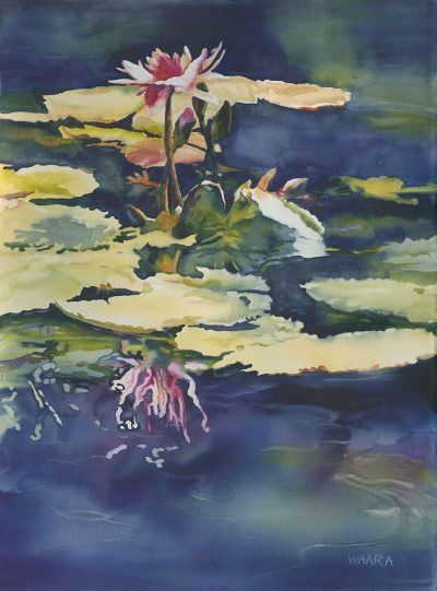Water Lily Mirage original watercolor by Maui artist Christine Waara