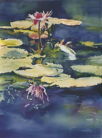 Water Lily Mirage original watercolor by Maui artist Christine Waara