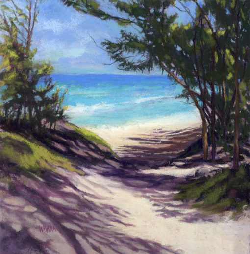 Baby Beach Dune Shadows original pastel painting by Maui artist Christine Waara