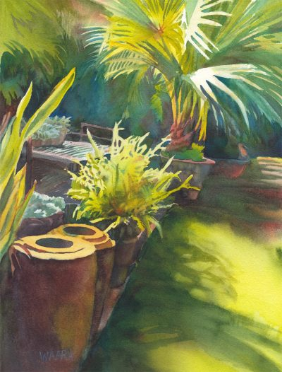 Haiku Mill Planters Bathed in LIght original watercolor painting by Maui artist Christine Waara