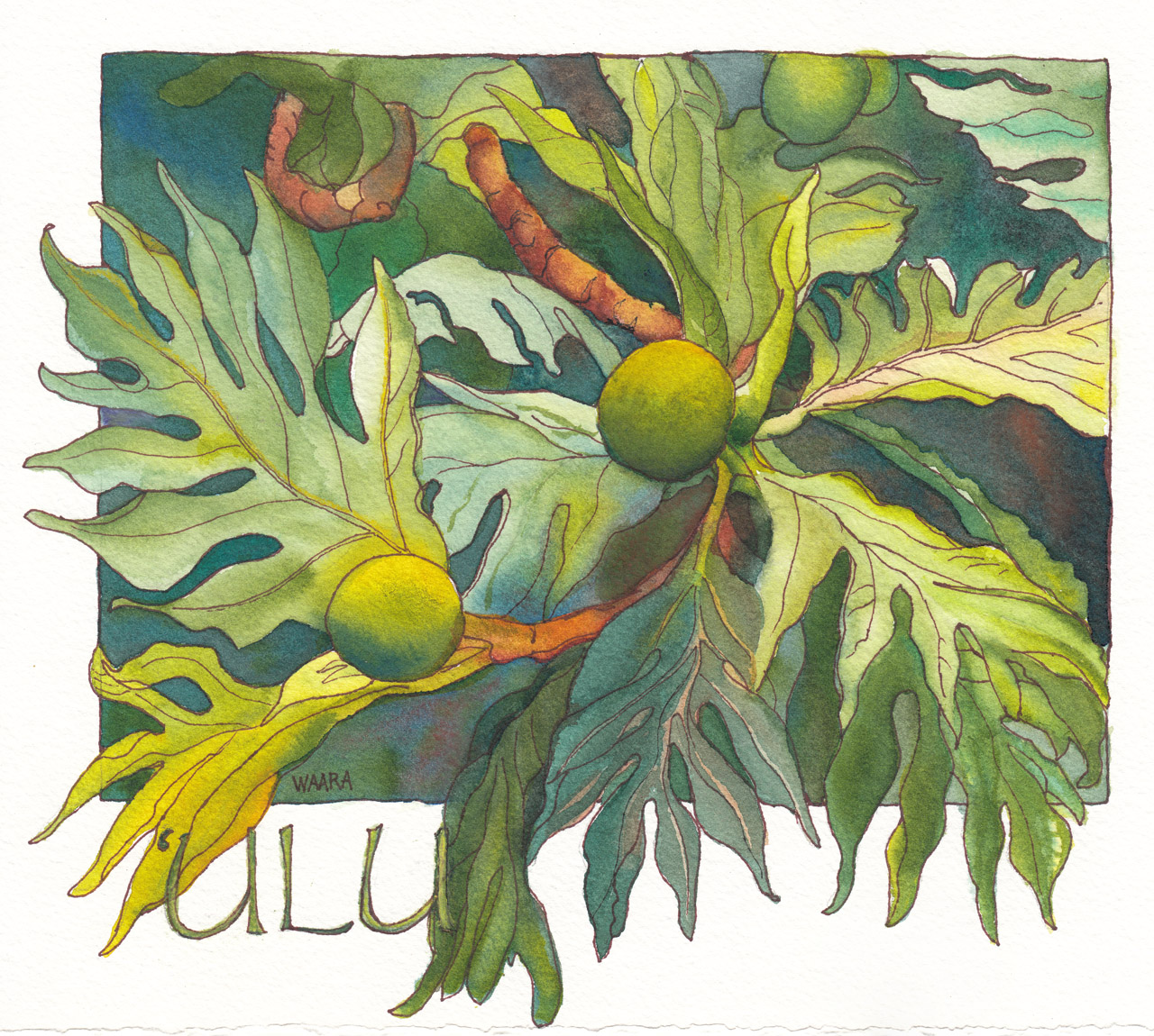 Ulu original watercolor painting by Maui artist Christine Waara