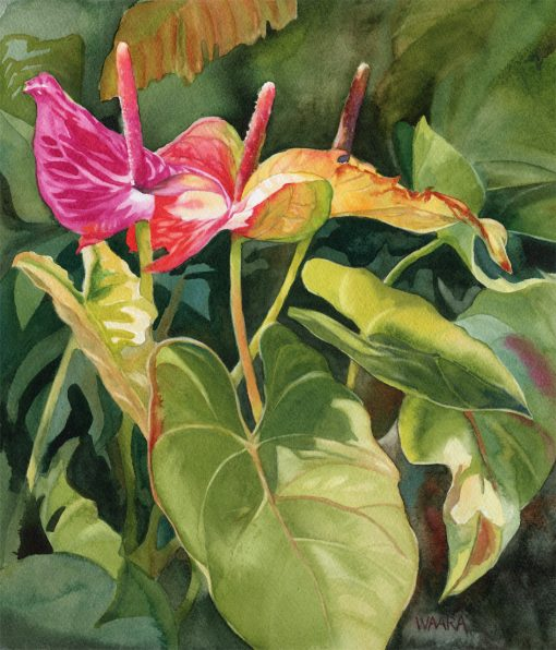 Walking in Sunshine original watercolor painting by Maui artist Christine Waara