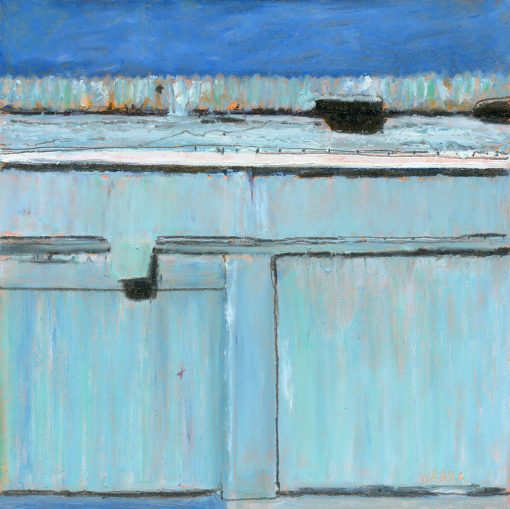 Original oil pastel abstract painting of a door