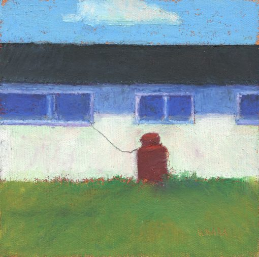 Original oil pastel painting of the side of a building with a lone cloud above it